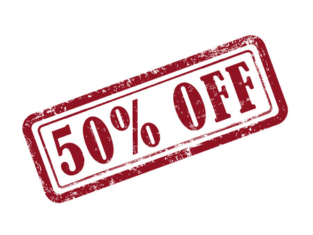 selling off: stamp 50 percent off in red over white background Illustration
