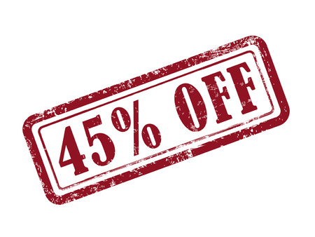 bargains: stamp 45 percent off in red over white background
