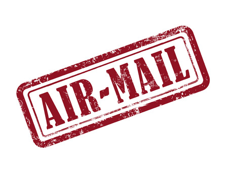 airmail stamp: stamp air-mail in red over white background