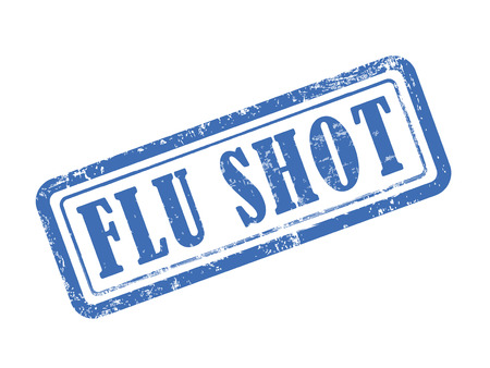 internist: stamp flu shot in blue over white background