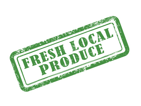 stamp fresh local produce in green over white background Vector