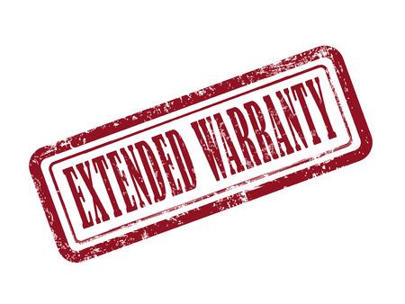 estendido: selo de garantia estendida em vermelho sobre o fundo branco Ilustração