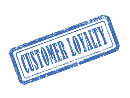 keywords bubble: stamp customer loyalty in blue over white background