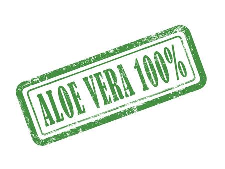 白い背景の上の緑のスタンプ アロエベラ 100%  イラスト・ベクター素材