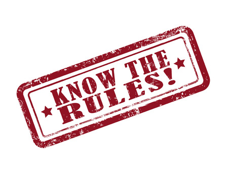 know: stamp know the rules in red over white background