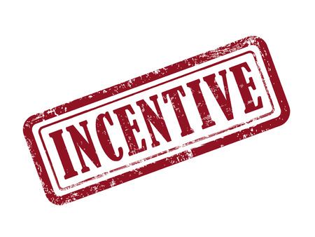 incentive: stamp incentive in red over white background Illustration