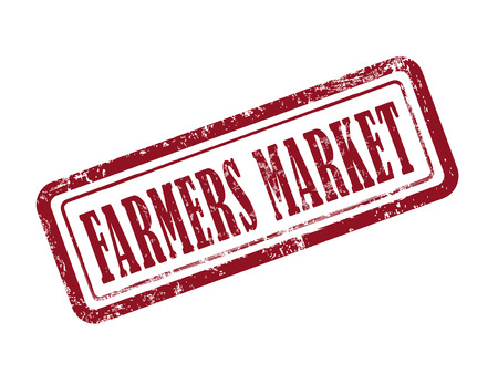 farmers market: stamp farmers market in red over white background