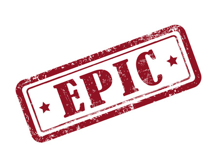 epic: stamp epic in red over white background