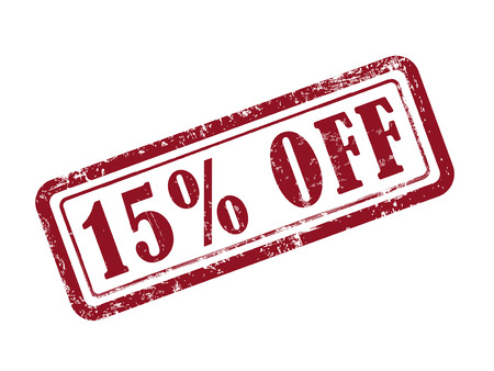 selling off: stamp 15 percent off in red over white background