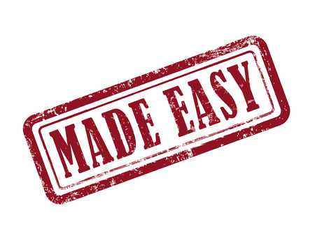 stamp made easy in red over white background