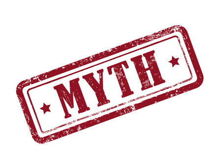 myth: stamp myth in red over white background Illustration