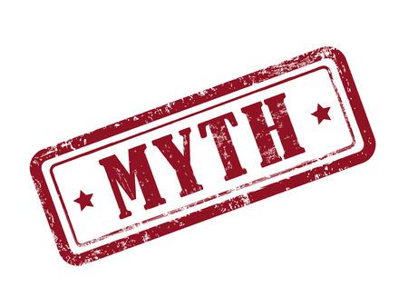 stempel mythe in het rood op een witte achtergrond Stock Illustratie