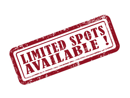 stamp limited spots available in red over white background