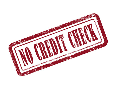 stamp no credit check in red over white background