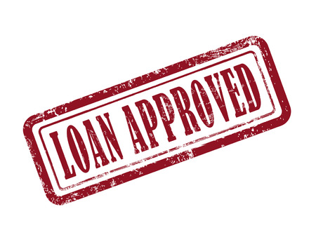 approved stamp: stamp loan approved in red over white background
