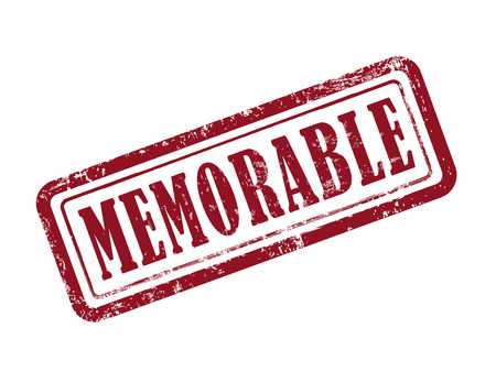 memorable: stamp memorable in red over white background