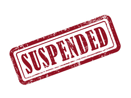 suspended: stamp suspended in red over white background Illustration