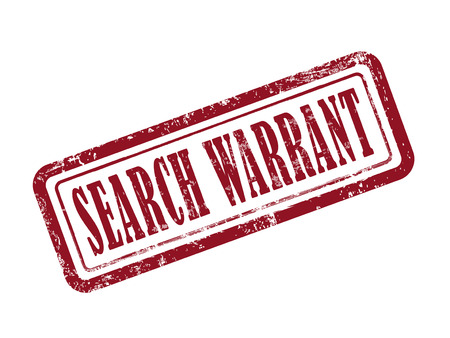 warrant: stamp search warrant in red over white background Illustration