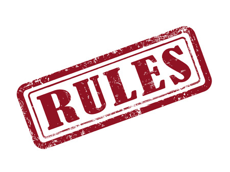 rule: stamp rules in red over white background Illustration