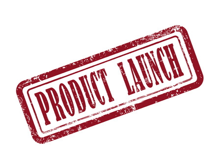 launching: stamp product launch in red over white background