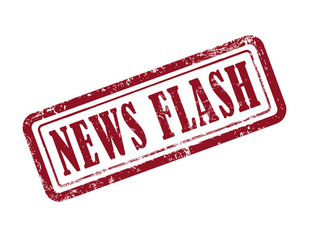 news flash: stamp news flash in red over white background