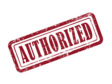 authorized: stamp authorized in red over white background