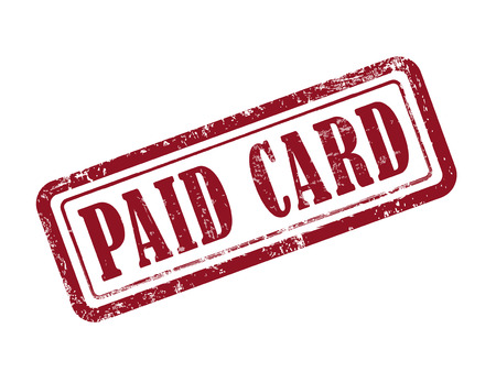 stamp of paid: stamp paid card in red over white background