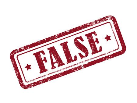 falso: estampar falsa en rojo sobre fondo blanco Vectores