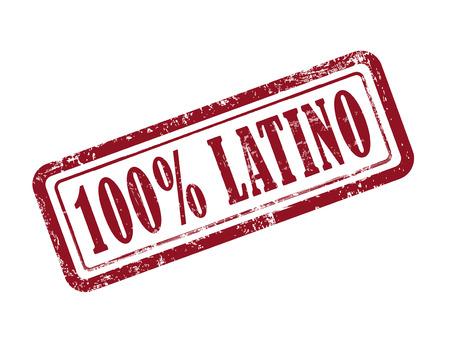 estampiller 100 pour cent latino en rouge sur fond blanc