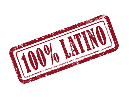 latino: stamp 100 percent latino in red over white background Illustration