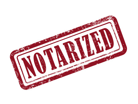 stamp notarized in red over white background