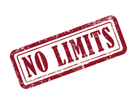 no limits: stamp no limits in red over white background