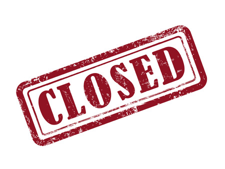 shut down: stamp closed in red over white background Illustration