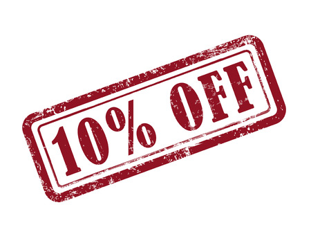 stamp 10 percent off in red over white background
