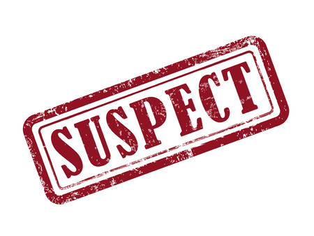 discredit: stamp suspect in red over white background