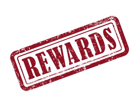 rewarded: stamp rewards in red over white background