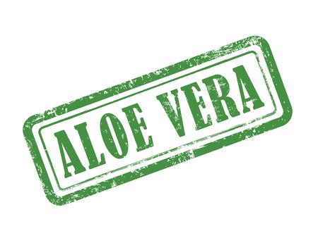 aloe vera background: stamp aloe vera in green over white background