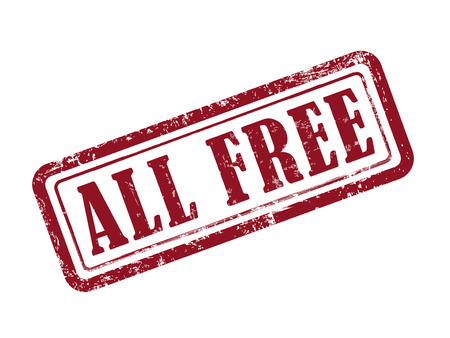 stamp all free in red over white background Illustration