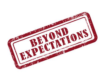 sello allá de las expectativas en rojo sobre fondo blanco Ilustración de vector