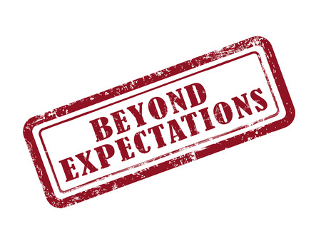 stamp beyond expectations in red over white background Illustration