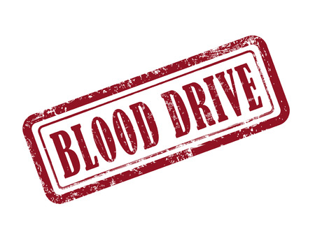 charity drive: stamp blood drive in red over white background Illustration