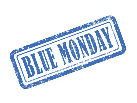 monday: stamp blue monday in blue over white background