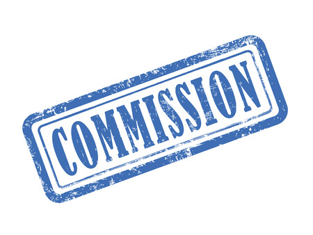 commission: stamp commission in blue over white background