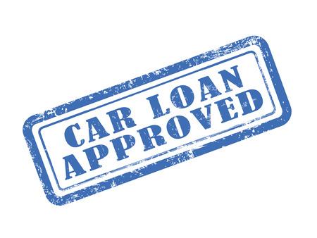 흰색 배경 위에 파란색으로 승인 된 도장 자동차 대출 일러스트