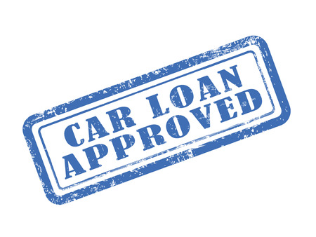 stamp car loan approved in blue over white background Çizim