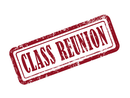 reunion: stamp class reunion in red over white background