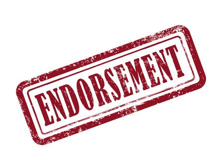 stamp endorsement in red over white background Illustration