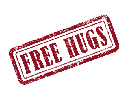 stamp free hugs in red over white background