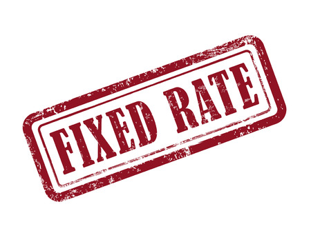stamp fixed rate in red over white background