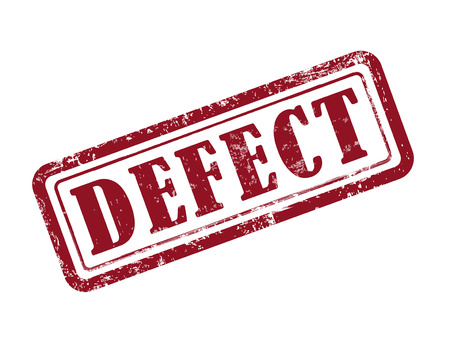 defects: stamp defect in red over white background